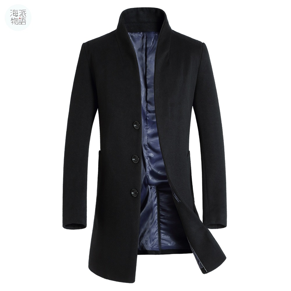 Shanghai Story long coat mens trench coat wool coat fashion buckle woolen business winter coat male