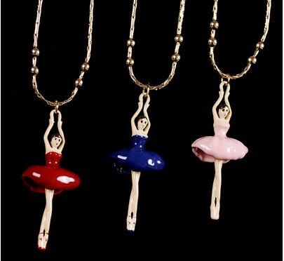6 Colors Sweet Girls Necklace Accessories Fashion Ballet Girl Statement Necklace Pendant Online Hot Sale недорго, оригинальная цена