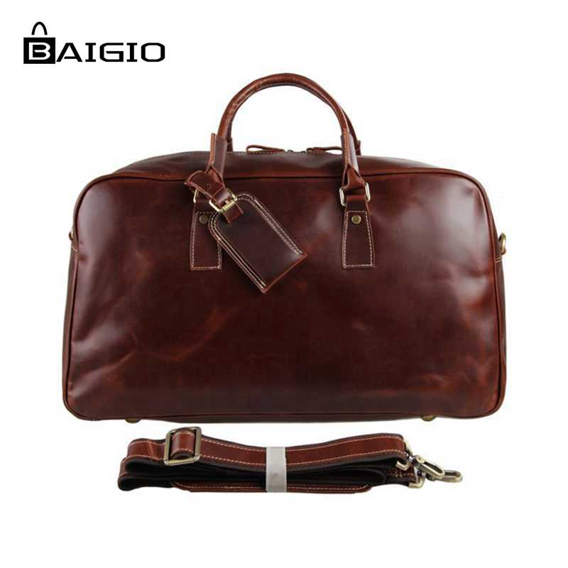 Baigio Men's Leather Bag Overnight Travel Tote Duffle Shoulder Bag Large Capacity Carry On Hand Luggage Bags Travel Bags augur new canvas leather carry on luggage bags men travel bags men travel tote large capacity weekend bag overnight duffel bags