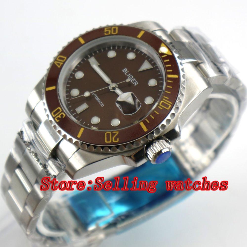 Bliger 40mm coffee dial luminous saphire glass Ceramic Bezel Automatic movement men's watch men