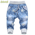 2017 Hot Sale Boy Girl Summer Denim Jeans Children Comfortable Pants Baby Elastic Waist Jeans Pants Cartoon Printing CY142