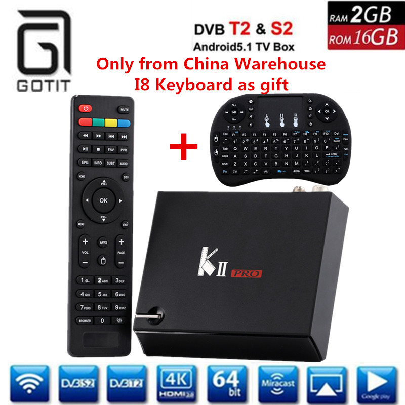 GOTIT Kii PRO Android DVB Combo Decoder with DVB S2 DVB T2 4K UHD Receiver CPU