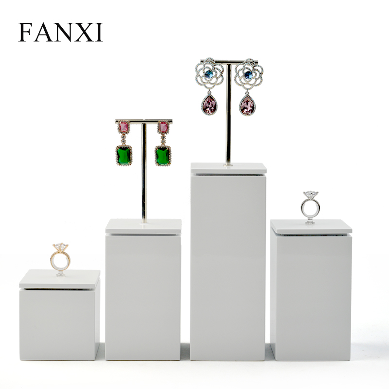 FANXI New White Solid Wood Jewelry Display Stand with Metal Acrylic Ring Stand Dangle Earrings Display