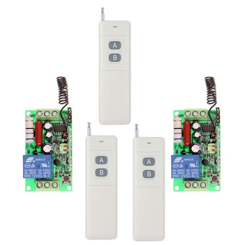 ФОТО 3000m  AC 220V 110V 1 CH 1CH RF Wireless Remote Control Switch System, 3 X 2CH Transmitter+2X Receivers,Self-lock Jog,315 433.92