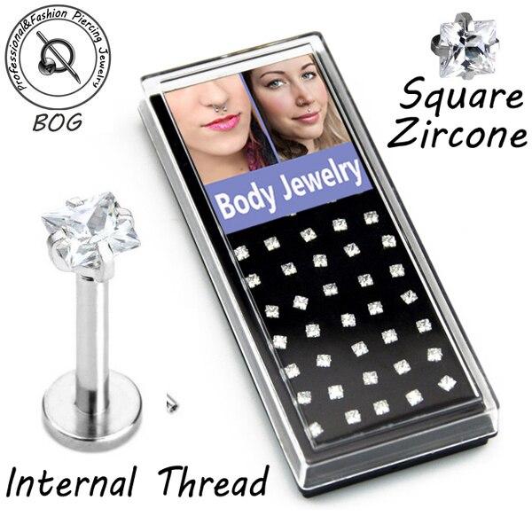 BOG-40 Pieces 316L Surgical Steel Prong Set Square Zircon Gem monroe Labret Lip Ring Ear Earlet Tragus Nail Earrings Stud 16g