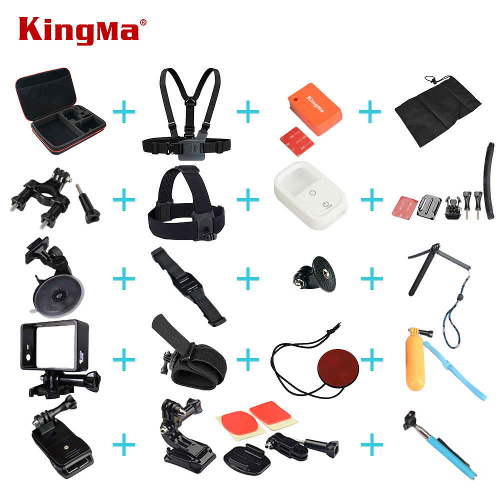 KingMa Go pro Accessories Set Head Strap Mount Chest Strap Floaty Bobber Waterproof Case Car Suction Cup For Gopro Hero2 Hero3