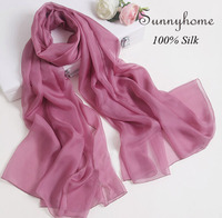 100 Pure Silk Womens Winter Cc Scarfs Fashionable Wholesale Cape Shawl Solid Pure Purple Brand Designer