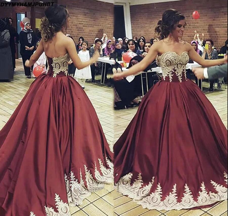 Gutherzig Glamorous Schatz Ballkleid Vestidos De 15 Anos Quinceanera Gold Appliques Bodenlangen Burgund Quinceanera Kleider 2018 Weddings & Events