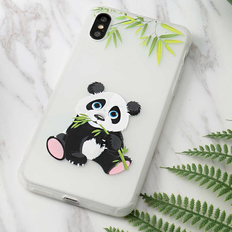 Dễ Thương Ốp Cặp Đôi Gấu Trúc Mềm Dành Cho iPhone X XS Max XR 6 6S 5 5S SE 7 7 Plus 11 Pro Max 2019 6.5Inch Bao Coque Fundas