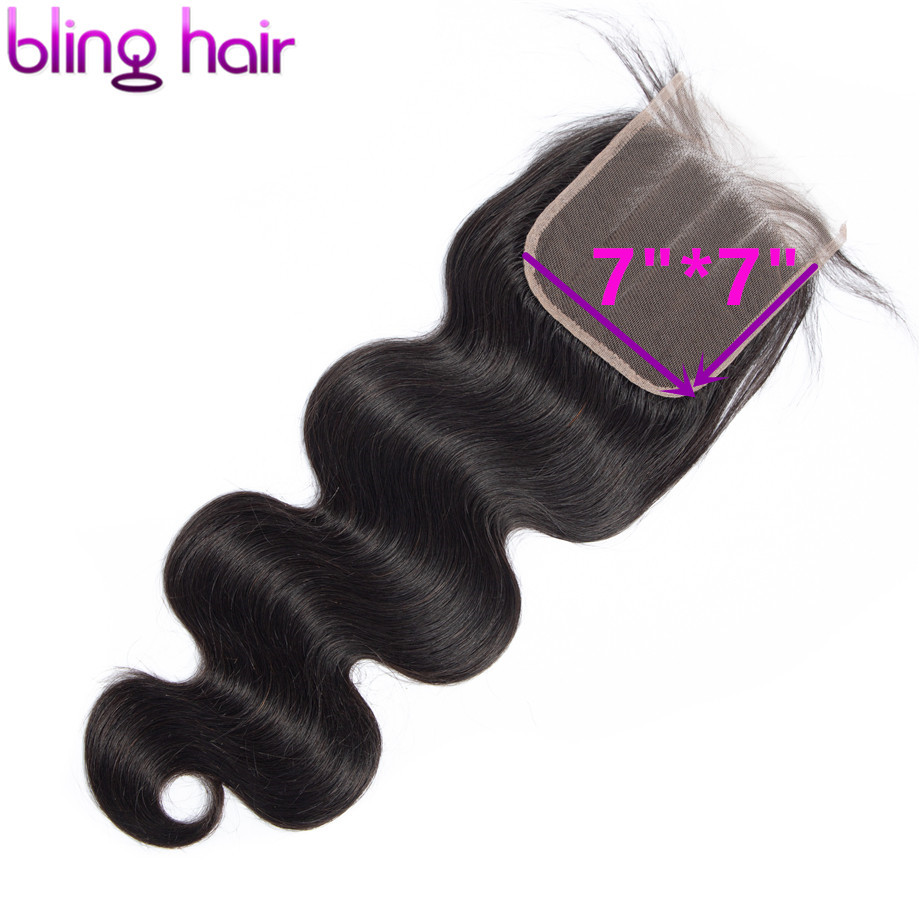 Bling Hair 7x7 Lace Closure Free/Middle/Three Part With Baby Hair Brazilian Body Wave Human Hair Closure 100% Remy Natural Color
