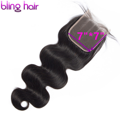 Bling Hair 7x7 Lace Closure Free/Middle/Three Part With Baby Hair Brazilian Body Wave Human Hair Closure 100% Remy Natural Color Pakistan
