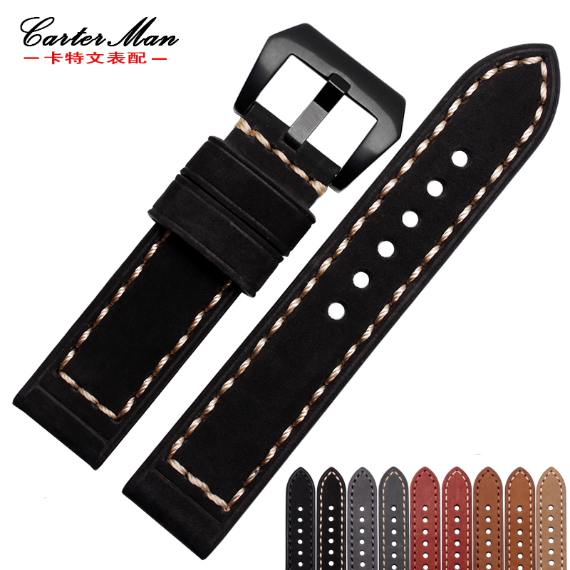 New 22mm 24mm 26mm High quality Genuine leather watchband for <font><b>PAM</b></font> 111 watch strap <font><b>Bracelet</b></font> image