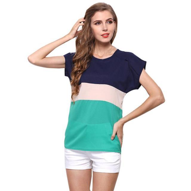 Summer Style T Shirt Stripe Chiffon Camiseta Short Sleeve Casual Tops Blouse Party Chemise Femme Camisa feminina stylish tops