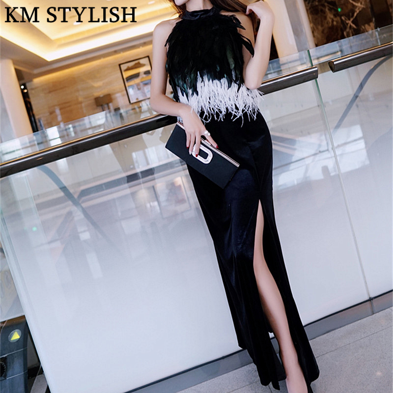 2019 Fall/Winter New Celebrity Split Party Dinner Long Dress Ostrich Feather Black Blue Red Velvet Female Dress