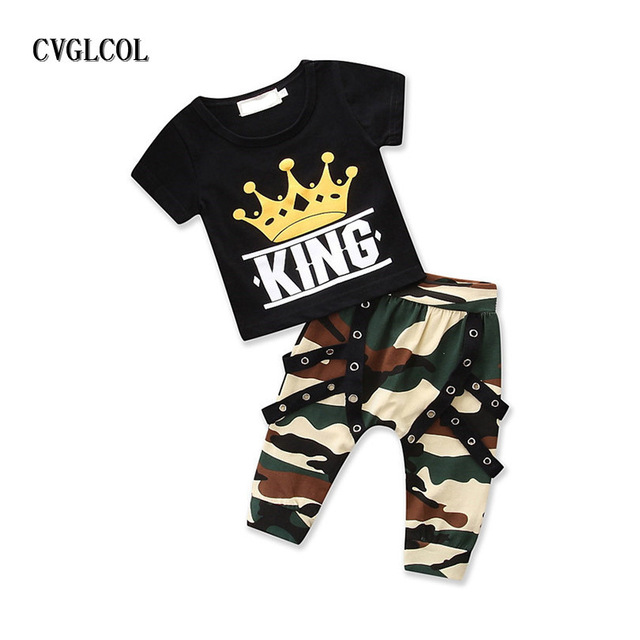 d1abe1f4af5b CVGLCOL Toddler Kids Baby Boys Clothes Set Newborn Infant Baby Clothing Set  Tops T-shirt + Camo Pants Outfits