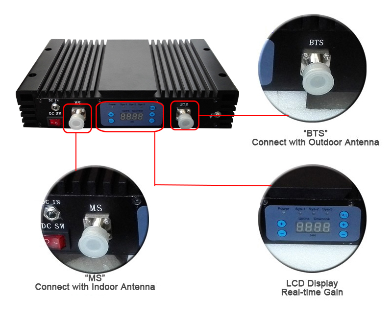 Triple Band Mobile Signal Booster 70dB Lcd display CDMA 850mhz + DCS - Aksesori dan suku cadang ponsel - Foto 6