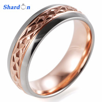 SHARDON Wedding And Engagement Jewelry 8mm Rose Gold Color Plated Carved Wedding Ring Grade 5 Titanium