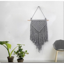 Gray Macrame Wall Art Handmade Cotton Wall Hanging Tapestry with Lace Fabrics Bohemian Hanging New Year Decoration Best Gift cotton fringed handmade woven wall hanging art