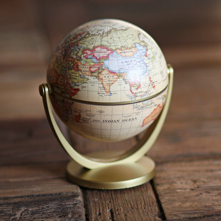 Geography Globe World Map Ornaments for Home Home Decor Craft Office Decor Gift for Friend / Children 10cm Retro Design English