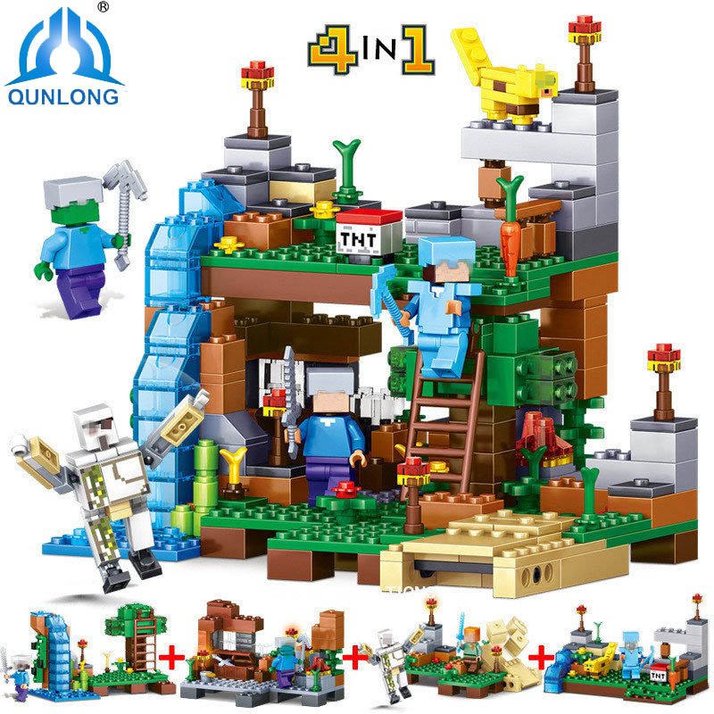 378pcs 4 in 1 Compatible Legoe Minecrafted City Figures Building Blocks Mine World DIY Garden Bricks Blocks Educational Kids Toy decool 3114 city creator 3in1 vehicle transporter building block 264pcs diy educational toys for children compatible legoe