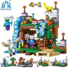 378pcs 4 in 1 Compatible Legoe Minecrafted City Figures Building Blocks Mine World DIY Garden Bricks