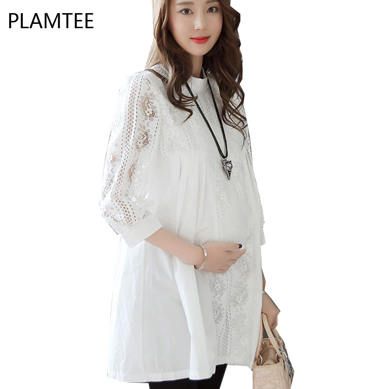 Elegant Gravid Kvinnor Toppar Snörning Vit T-shirts Mode Solid Hollow Out Maternity Blusar Plus Storlek M ~ XXL Maternity Party Clothes