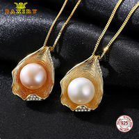 Luxury Seashell Necklace Gold Color Real S925 Sterling Silver Natural Pearl Pendant Necklaces Natural For Women Fine Jewelry