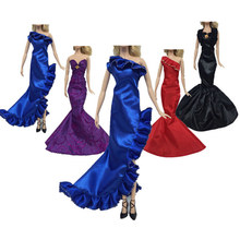 Handmade Wedding Evening Mermaid Tail Dress Princess Party Long Gown Skirt Bridal Veil Clothes For 30cm Doll Accessories Gift(China)