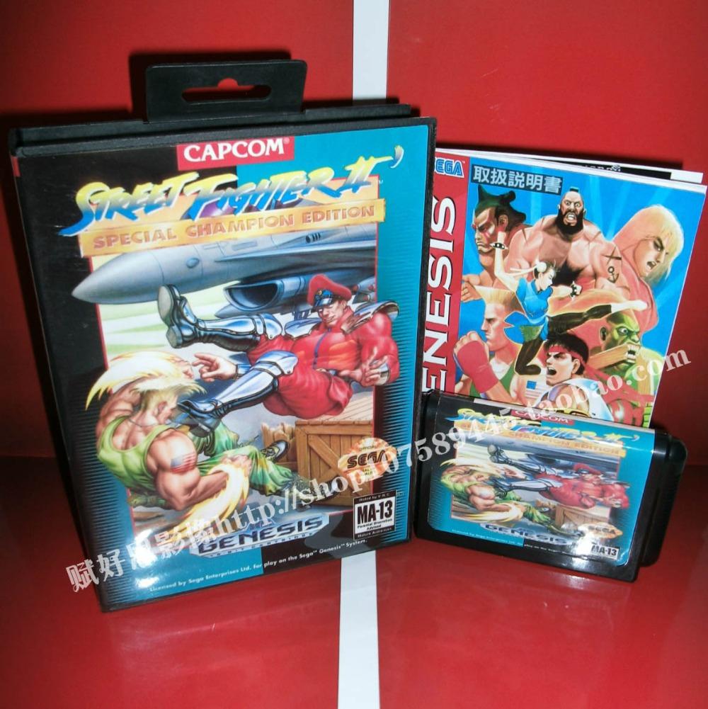 Street fighter 2 special champion edition Game cartridge with Box and Manual 16 bit MD card for Sega Mega Drive for Genesis