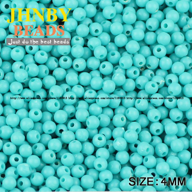 JHNBY Cream beads High quality Acrylic beads 1000pcs 4MM Round Candy Neon smooth Loose beads ball Jewelry bracelet making DIY 3