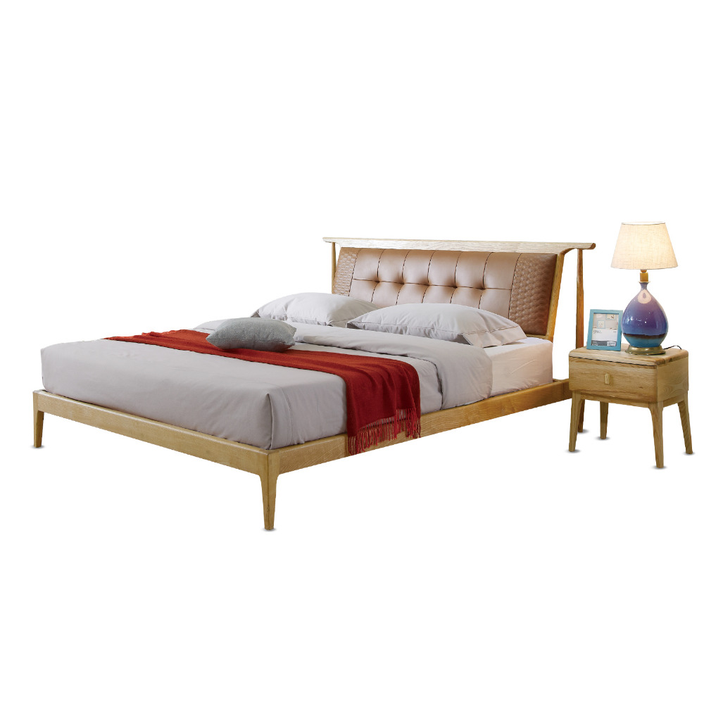 1122H202A Nordic style All solid wood Modern minimalist wedding king size bed Master bedroom furniture bed frame