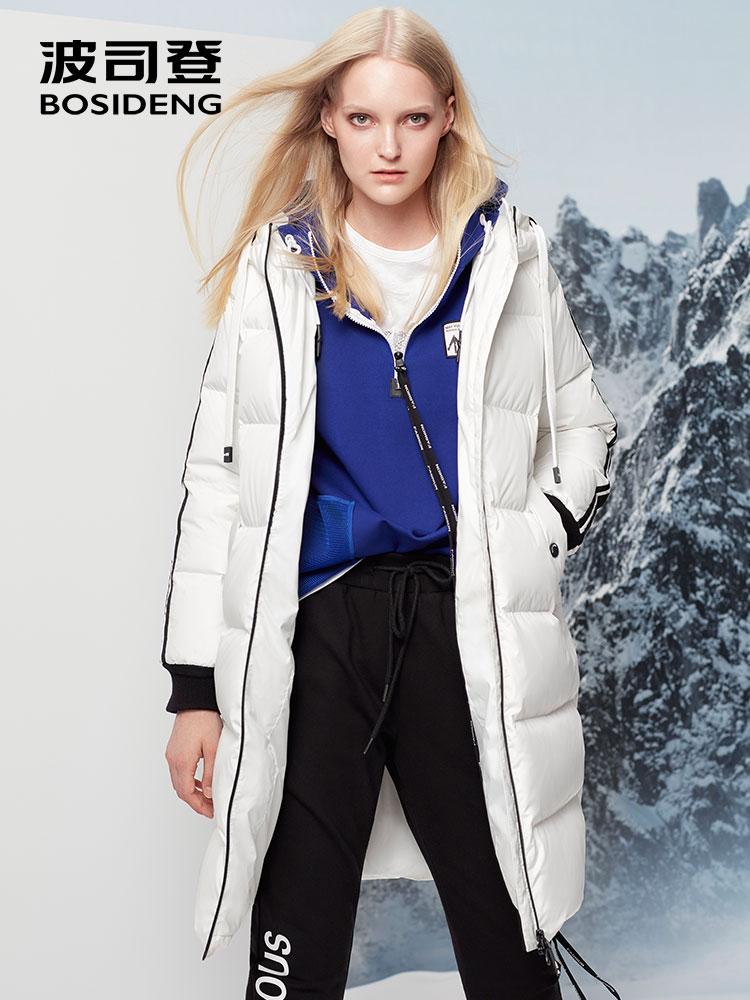 BOSIDENG Зимний новый пуховик женский утепленный длинный пуховик X-long parka с капюшоном верхняя одежда высокого качества B70142004