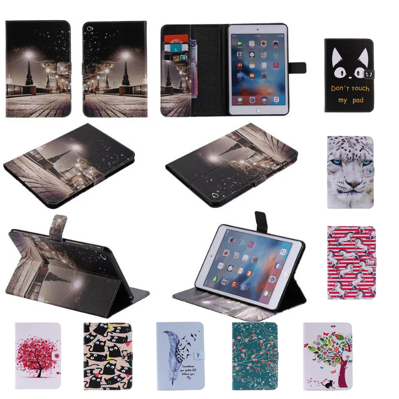 For Apple iPad Mini 4 Case Tiger pattern Leather Case font b cover b font For