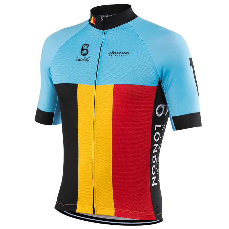 66d978921 2018 NEW men Belgium team cycling jersey blue black yellow red top short