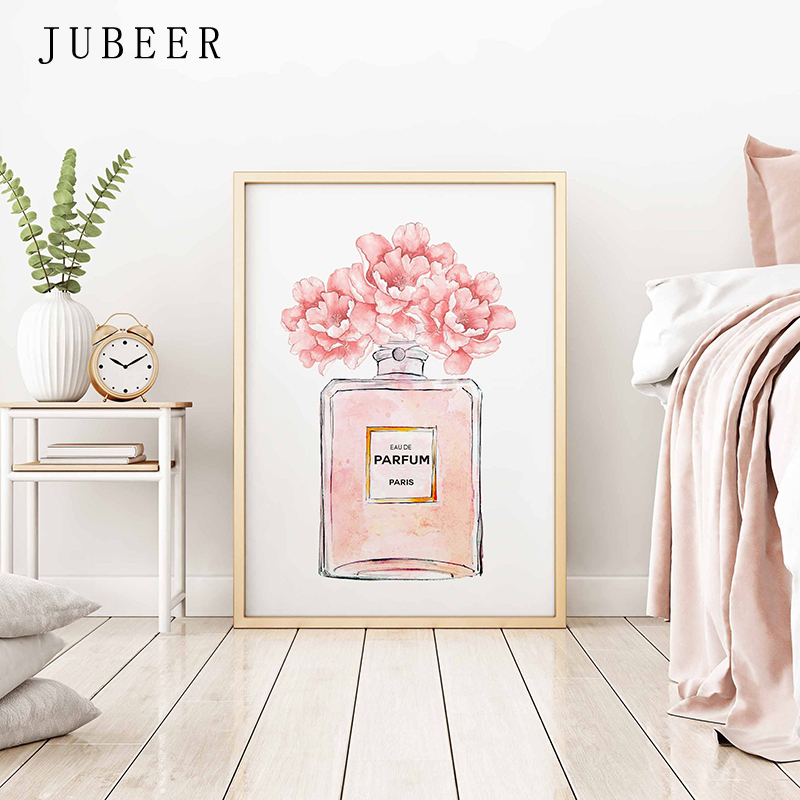 HTB1LB0ba2jsK1Rjy1Xaq6zispXao Perfume Bottle Wall Art Perfume Posters and Prints Beauty Begins Quote Print Watercolor Flower Pictures Bedroom Decoration
