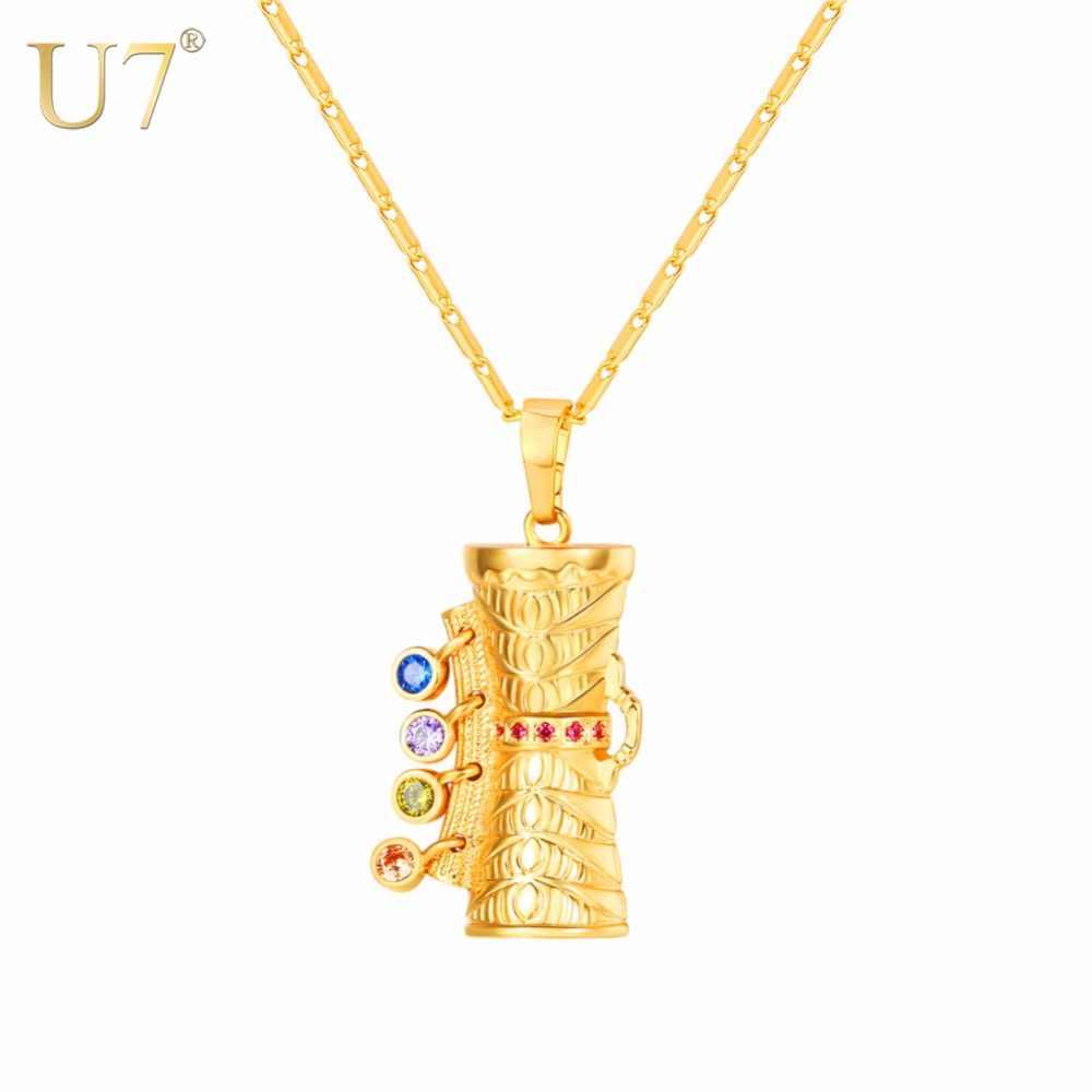 U7 Kalung Colorful CZ KUNDU Drum Pendant & Rantai Emas warna Hadiah Untuk Wanita/Pria Papua Nugini PNG Perhiasan Kalung P1156