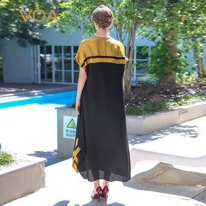 Image 2 - VOA Plus Size 5XL Loose Long Maxi Dress Silk Robe Dresses Casual Chinese Style Vintage Elegant Muslim Abaya Arabic Pull ALJ01001