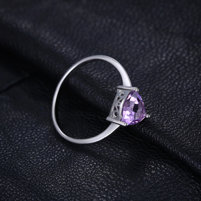 Natural Purple Amethyst Birthstone Solitaire Ring