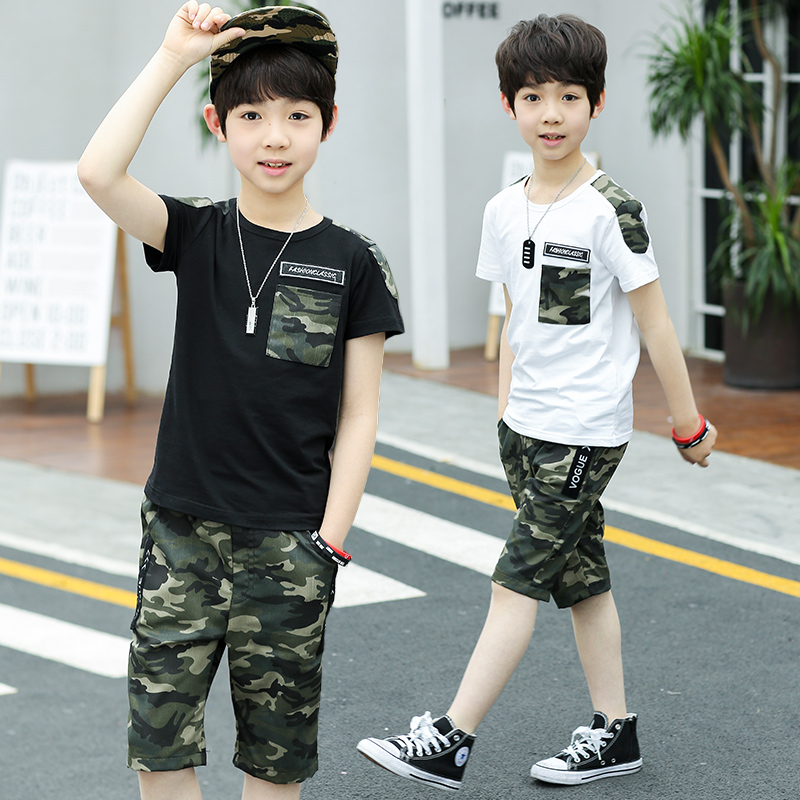 Boys Camouflage Tracksuits 2018 summer Children White Black short Sleeve T-shirt + Pants Outfit Kids Clothing Sets Age 5-15T random 10 items   fashion 5 outfit   5