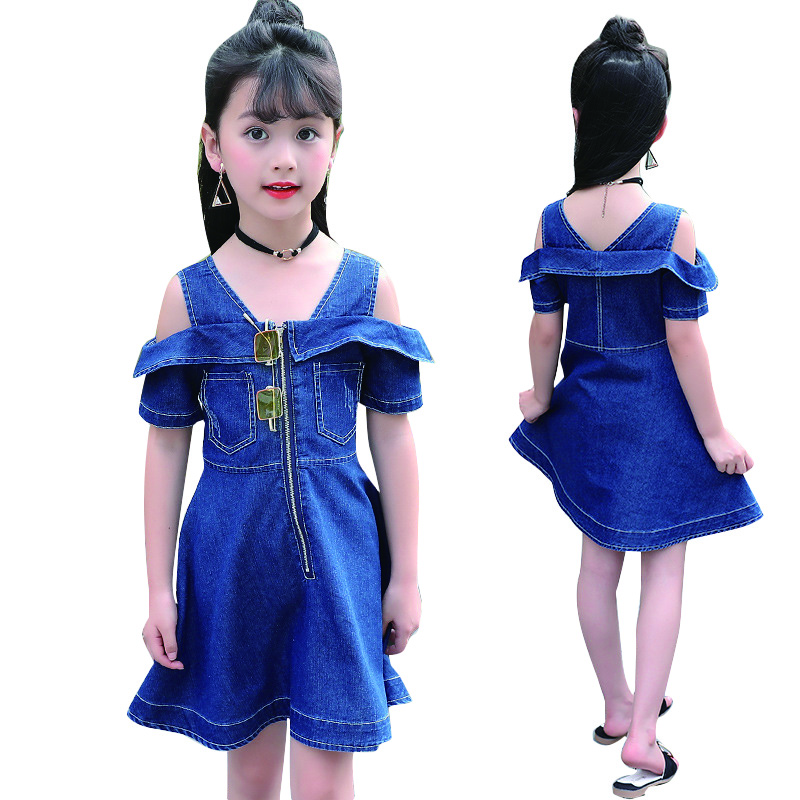 Baby Denim Dresses For Girls Sundress Off Shoulder Kids Dresses Summer Children Jeans Dress 8 9 10 11 12 Years Vestidos Infantil shuzhi summer baby girls dress denim sundress girls suspender denim dresses kids cute rabbit embroidery sundress