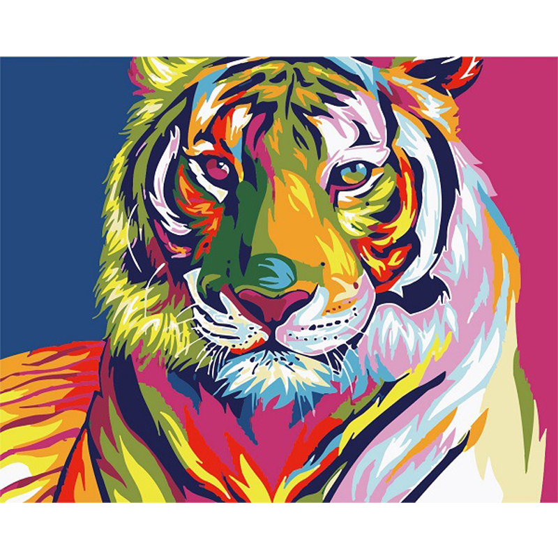 Diy Digital Oil Painting By Numbers Snow Tiger Wall Decor