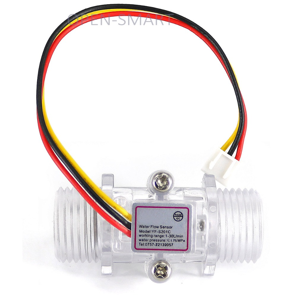 G1/2 Plastic Water Flow Sensor meter Turbine Hall Flowmeter for Arduino Easy to Measure Water / Flow Rate with XH-3P Connector fqa11n90 to 3p