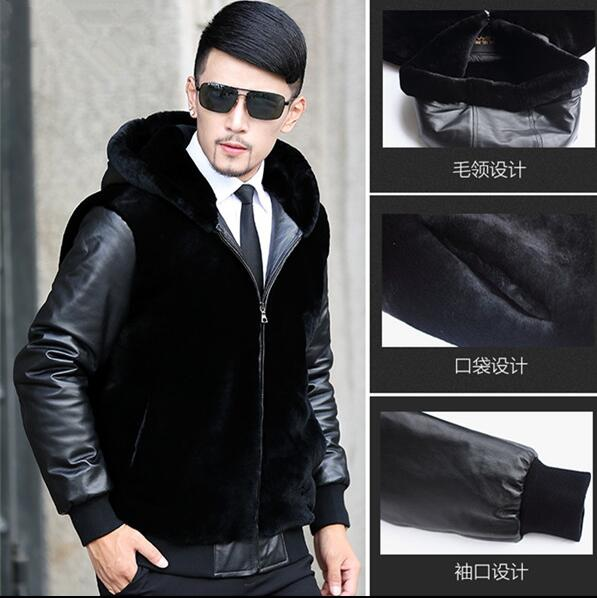 Winter thicken thermal mink hair overcoat fur leather jackets men casual mens PU patchwork coats outerwear hooded black fashion