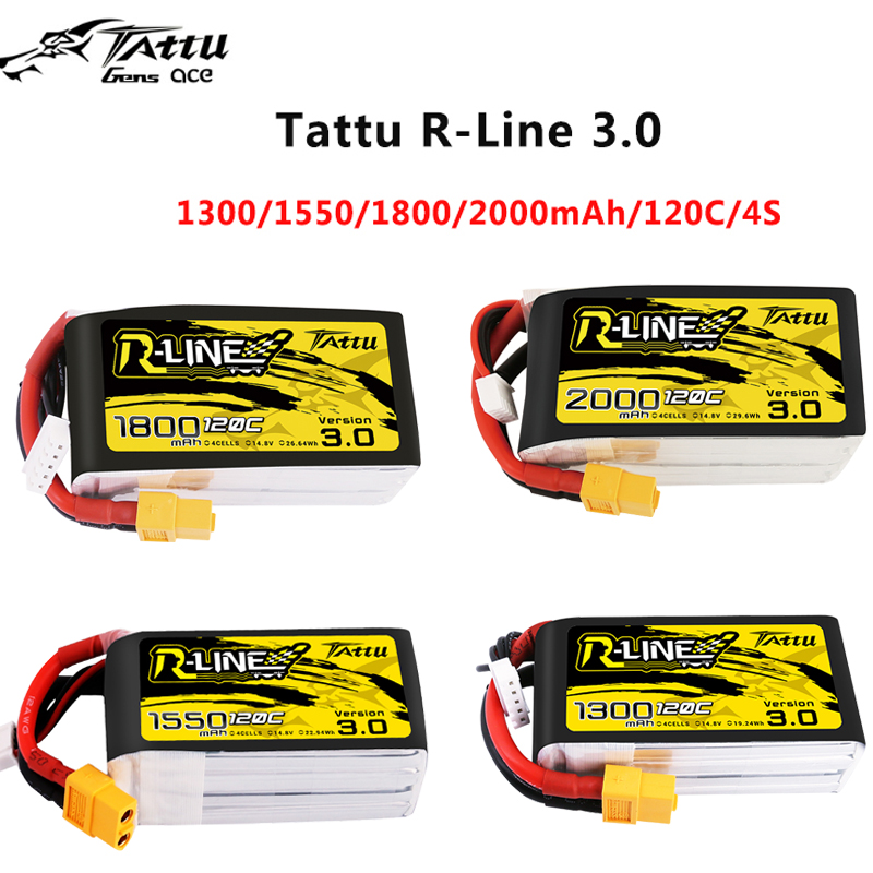New Tattu R-line 120C V3 1300/1550/1800/2000mAh 120C 4S 14.8V Lipo Battery with XT60 Plug for FPV Racing Drone RC Quadcopter image