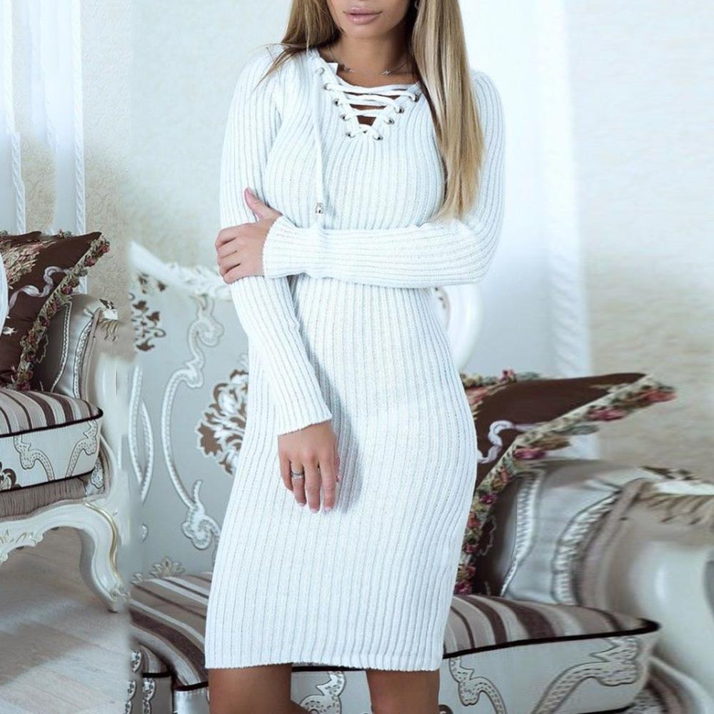 Women Casual Autumn Dress 2018 Winter Simple Western style Bodycon V Neck Pullover Plain Long Sleeve Lace Up Girls Fashion Dress