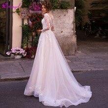 Detmgel Long Sleeve Appliques A-Line Wedding Dresses 2019