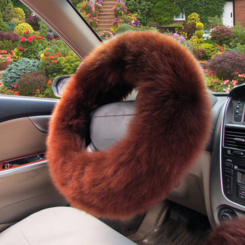 3Pcs/Set Pink Warm Plush Wool Steering Wheel Cover Furry Fluffy Car Accessory цены