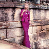 Hot&Sale long violet red lace mother of the bride dresses with jacket floor Length formal dresses for mother of the groom MBD56