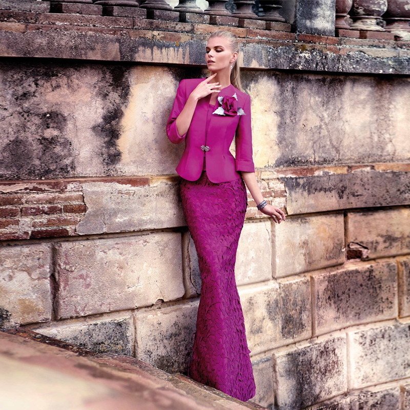 Hot&Sale long violet red lace mother of the bride dresses with jacket floor-Length formal for groom MBD56