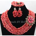 New Design 6 Layers Natural Pink Coral Beads Nigerian Wedding Women African Indian Bridal Lace Jewlery Sets Free Shipping ABK922